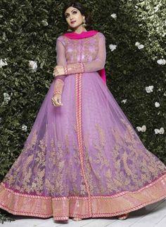 Shilpa Shetty Pink Embroidery Thread Work Raw Silk Yock Net Lace Border Designer Anarkali Salwar Suit
