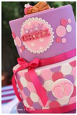 Hot Mamas Cakes   Baby Shower Pink and purple polka dot baby shower