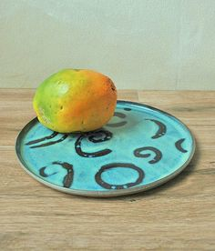 Rustic Handmade Ceramic Serving Plate Decorated With Turquoise Spiral by ShellyClayspot on Gourmly