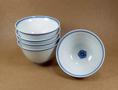 Japanese Tea Cups Of Imari Ware Blue And White Plum by Nippon2You