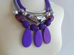 Tribal statement colorful necklace purple silver by stavroula