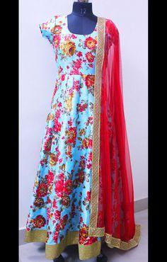 Buy D6 Studio Exclusive: Blue & Red Floral Anarkali Suit • Delhi 6 Store