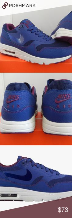 NIKE WOMENS SHOES  AIR MAX ULTRA BLUE US 7 Condition:  New with the box Brand: Nike Air Max Blue and Violet  US Shoe Size (Women's):7 Style:  Trainers Width:  Medium (B, M) Fastening:   Lace Up Heel Height:Flat (0 to 1/2 in.) Material:   Synthetic Retail: $ 110  Air Max 1 Ultra Essentials supplies the same excellent quality and comfort.  Leather and mesh upper with supportive overlays provide a comfortable fit. Full-length PU midsole with Max Air in the heel for unbeatable cushioning  get…