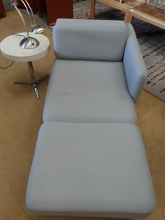 Funky Pale Grey Woolen Chaise Longe Lounge with chrome feet Hotel B&B Guesthouse Listing in the Furniture,Living Room,Home & Garden Category on eBid United Kingdom