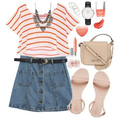 Orange by ritacvi on Polyvore featuring polyvore fashion style Rebecca Minkoff Chicnova Fashion Kenneth Cole Daniel Wellington Charlotte Russe Vanessa Mooney Untold Clinique Butter London