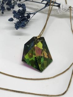 Aurora Borealis Teardrop Pendant. Rolled gold by StaceyDoesVintage