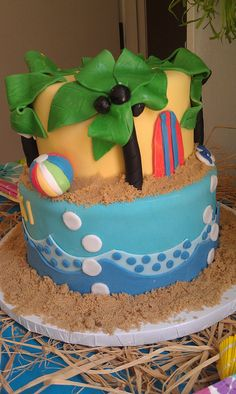 tropical themed baby shower cake | shower cake 5 keiki means baby in hawaiian so i made this baby shower ...