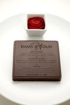 Love this idea!! Chocolate wedding menu! Servers as a menu, favor and dessert.