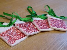 Set of 4 Ceramic Earthenware Christmas Present Tree Decorations with Red Glaze Lace Pattern & Green Ribbon by KrTPottery on Etsy