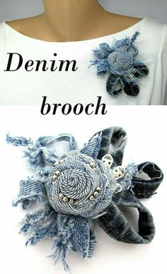 Your place to buy and sell all things handmade – brooch Artisanats Denim, Denim Art, Jean Crafts, Denim Crafts, Upcycled Crafts, Fabric Flower Brooch, Fabric Flowers, Pach Aplique, Diy Accessoires