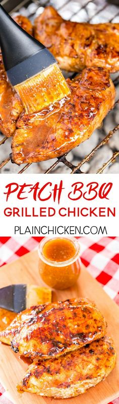 Peach BBQ Grilled Chicken - So easy and Sooo delicious!!! Season chicken with some store-bought BBQ seasoning and grill. Brush with an easy homemade peach BBQ sauce to finish. This is incredible!! Peach preserves, soy sauce, dry mustard, garlic, cayenne pepper, salt, and pepper. Can make the sauce ahead of time and refrigerate until ready to serve.