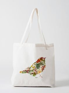 L'oiseau d'Été tote bag blanc ivoire avec un par BambouchicParis Canvas Shopper Bag, Painted Clothes, Lunch Bags, Fabric Bags, Birdwatching, Cotton Bag, Hana, Handmade Art, Tote Bags