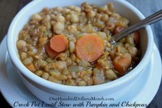 Crock Pot Lentil Stew with Pumpkin and Chickpeas