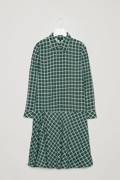 COS image 5 of Check dress with gathered detail in Green
