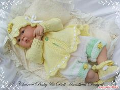 Baby and Doll Hand Knit Designs for Sale Baby Doll Clothes, Doll Clothes Patterns, Babies Clothes, Baby Knitting Patterns, Knitting Designs, Sewing Patterns, Crochet Patterns, Double Knitting, Hand Knitting