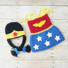 05e32d3ce757a Crochet Baby Wonder Woman Costume Set Dress Hat Beanie Crown Handmade Baby  Shower Gift Photography Prop