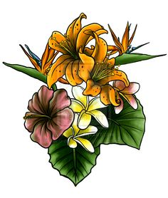 Tropical Flowers And Leaves by M-o-n-s-t-a-R on deviantART