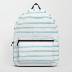 A sky blue watercolor paint strokes in stripe pattern. Striped Backpack, Paint Strokes, Art Bag, Stripe Pattern, Watercolour Painting, Fashion Backpack, Cool Art, Sky, Backpacks