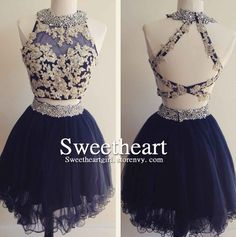 Dark blue tulle lace 2 pieces short prom dress for teens, homecoming dress,cute evening dress