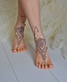 Crochet Tan Barefoot Sandals french lace Nude shoes by newgloves Foot Jewelry Wedding, Wedding Shoes, Wedding Lace, Bridal Lace, Luxury Wedding, Wedding Gowns, Crochet Barefoot Sandals, Arm Bracelets, Victorian Lace