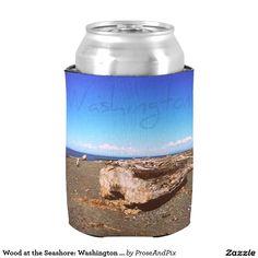 Wood at the Seashore: Washington State Photography Can Cooler #zazzle #cheers #drinking #celebration #pnw #photography #beautiful #bluesky #goodtimes