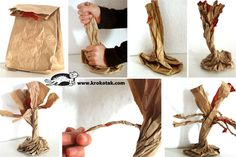 Paper bag trees. Smash, twist, cut strips on the top, twist strips, and use tissue paper for leaves and flowers.