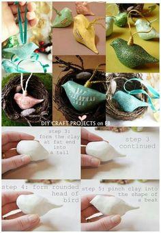 Clay bird ornaments making the birds for bird baths.