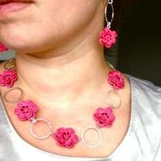 Crochet Cerise Pink Flower Necklace with Metal by IzabelaMotyl,