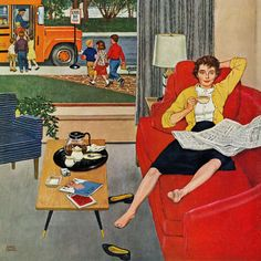 'Morning Coffee Break': detail from 'Saturday Evening Post' cover, September 1959 (artwork by Amos Sewell) Photo Vintage, Vintage Ads, Vintage Images, Vintage Posters, Vintage Wife, Deco Retro, Retro Art, Illustrations, Illustration Art
