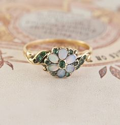 Opal and Emerald Daisy Ring
