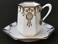 Art deco sterling overlay demitasse cups and saucer – Belleek Pottery Teapots And Cups, Teacups, Belleek Pottery, Art Deco, Cafetiere, China Tea Cups, Chocolate Cups, Tea Cup Saucer, Vintage Tea