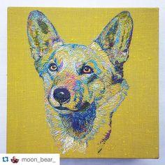 Embroidery of the day! An adorable Corgi by @moon_bear_ ! #art #artoftheday #modernart #contemporaryart  #Repost @moon_bear_ with @repostapp. ・・・ 1 complete Corgi  #embroidery #handsewn #embroideryart #embroideryhoop #dog #corgi #threadart #hoopart #hoopembroidery #hoop #linen #contrast #colour #handembroidery #corgilove #stitch #canvas #ooak #eyes #sewing #animalart #hobby #royal #thread