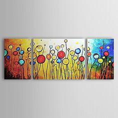 met de hand geschilderde abstracte olieverf met gestrekte frame - set van 3 - EUR € 57.74