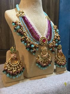 VeroniQ Trends- Replica Sabyasachi Designer Kundan/Polki Necklace Set in Multilayer Kundan & Faux Handmade item. Material: Brass, Glass, Gold, Silver, Stone Kundan is a traditional form of Indiangemstone jewellery involving a gem set with a gold foil Kundan Jewellery Set, Indian Jewelry Earrings, Indian Jewelry Sets, Indian Wedding Jewelry, Bridal Jewelry Sets, Silver Jewelry, Rajput Jewellery, Jewlery, India Jewelry