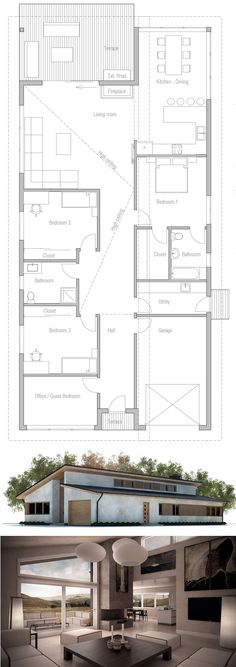planta de casa, projeto de casa moderna