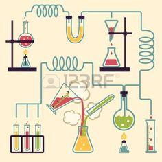 フラスコ: インフォ グラフィック化学実験化学ラボ イラストで