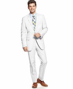 Tommy Hilfiger White Cotton Stretch Suit Separates Trim Fit