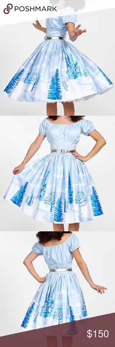 Pinup Girl Clothing - Jenny Skirt - Ice Castle ❄️ Pinup Girl Clothing - Jenny Skirt - Ice Castle ❄️  - BRAND NEW WITH TAGS - fits waist 29 - 30 inch waist - Disney Elsa inspired - beautiful matching peasant top available also - MAKE AN OFFER! ModCloth Skirts Circle & Skater