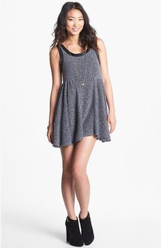 Mimi Chica Faux Leather Trim Babydoll Sweater Dress (Juniors) available at #Nordstrom