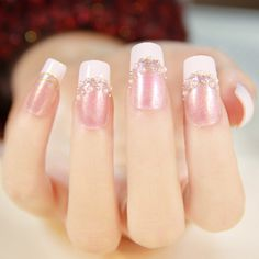 Francés, perlas Color French Manicure, French Nails, Hair And Nails, My Nails, Korean Nails, French Nail Designs, Manicure Y Pedicure, Christmas Nail Art Designs, Disney Nails