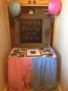 """Sign in! Blue or Pink, use the pen you think"" -gender reveal party"