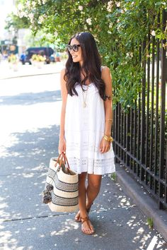 White Lace Trim Spaghetti Strap Summer Dress