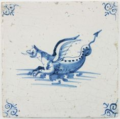 Antique Delft tile with a Sea Dragon, 17th century
