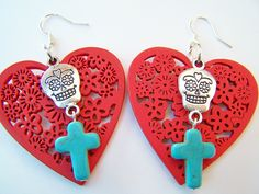 Day of the Dead Earrings - Limited Edition - Hearts - Red Wood Hearts, Sugar Skulls & Turquoise Crosses