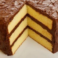 This page contains homemade yellow cake recipes. Many people like yellow cake. You don't have to buy it in a box, you can easily make yellow cake from scratch. Also includes how to make your own cake flour. Layer Cake Recipes, Homemade Cake Recipes, Baking Recipes, Dessert Recipes, Yellow Cake Recipes, Homemade Yellow Cakes, Easy Recipes, The Best Yellow Cake Recipe Ever, Birthday Cakes