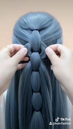 Hairdo For Long Hair, Easy Hairstyles For Long Hair, Braided Hairstyles, Hair Style Vedio, Hair Tutorials For Medium Hair, Girl Hair Dos, Front Hair Styles, Hair Videos, Hair Designs