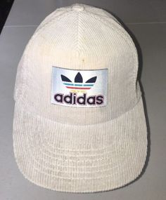 2fede60f42d0 Vintage Adidas Hat Strapback Rainbow Trefoil Logo Corduroy Rare