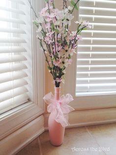bottiglia di vino vaso dieci minuti mestiere facile primavera, l'artigianato, fiori, come, riuso upcycling