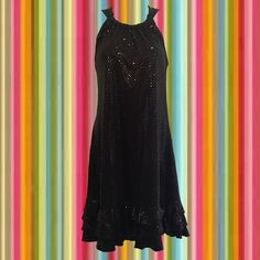 • vintage 90s party dress • black on black sparkly dots • A-line dress (the perfect hang!) • gathered neckline • triple-tiered ruffles at the hemline • polyester/spandex • size 8 • bust: 38 • length: 36   the rare combopack of a great-looking party dress thats *also* comfortable all night!   ❉ ❉ ❉  check out www.instgram.com/vintish.nyc for perfect post-90s items, as well!  ❉ ❉ ❉  as with all vintage items, expect some wear. i inspect everything to make sure its just as described, b...