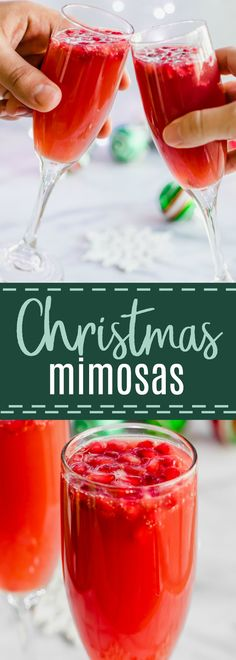 Christmas Mimosas! Celebrate Christmas in the morning with this mimosa that has a combination of orange juice and pomegranate juice! #brunch #mimosa #christmas #pomegranate